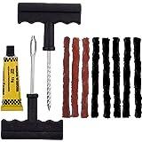 Tire Plug Kit, Tire Repair Kit withT- Handle, 3 Pcs Orange and 5 Pcs Black Strings (Repair kit)