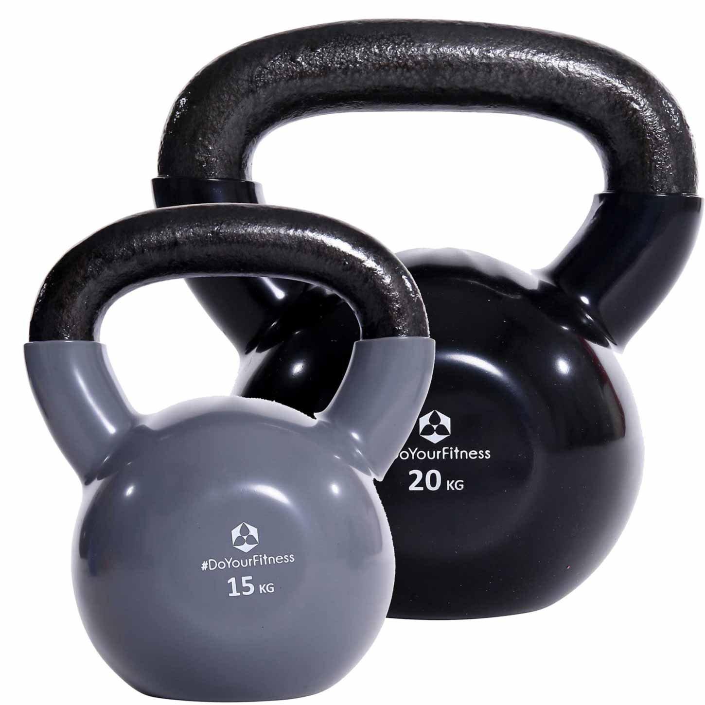 DoYourFitness 2er-Set Kettlebell »Kolossos« Kugelhantel bis zu 30kg Gesamtgewicht/Handgewicht 100% Eisen mit Vinyloberfläche/High Performance Studio-Qualität