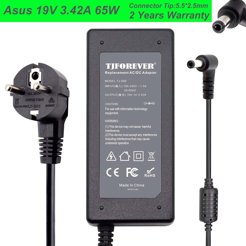 TJFOREVER Cargador Portatil ASUS 19V 3.42A 65W para ASUS N17908 V85 A53s X555l X550C K52F K53 K55 Notebook Ordenador portátil Fuente de Alimentación ...