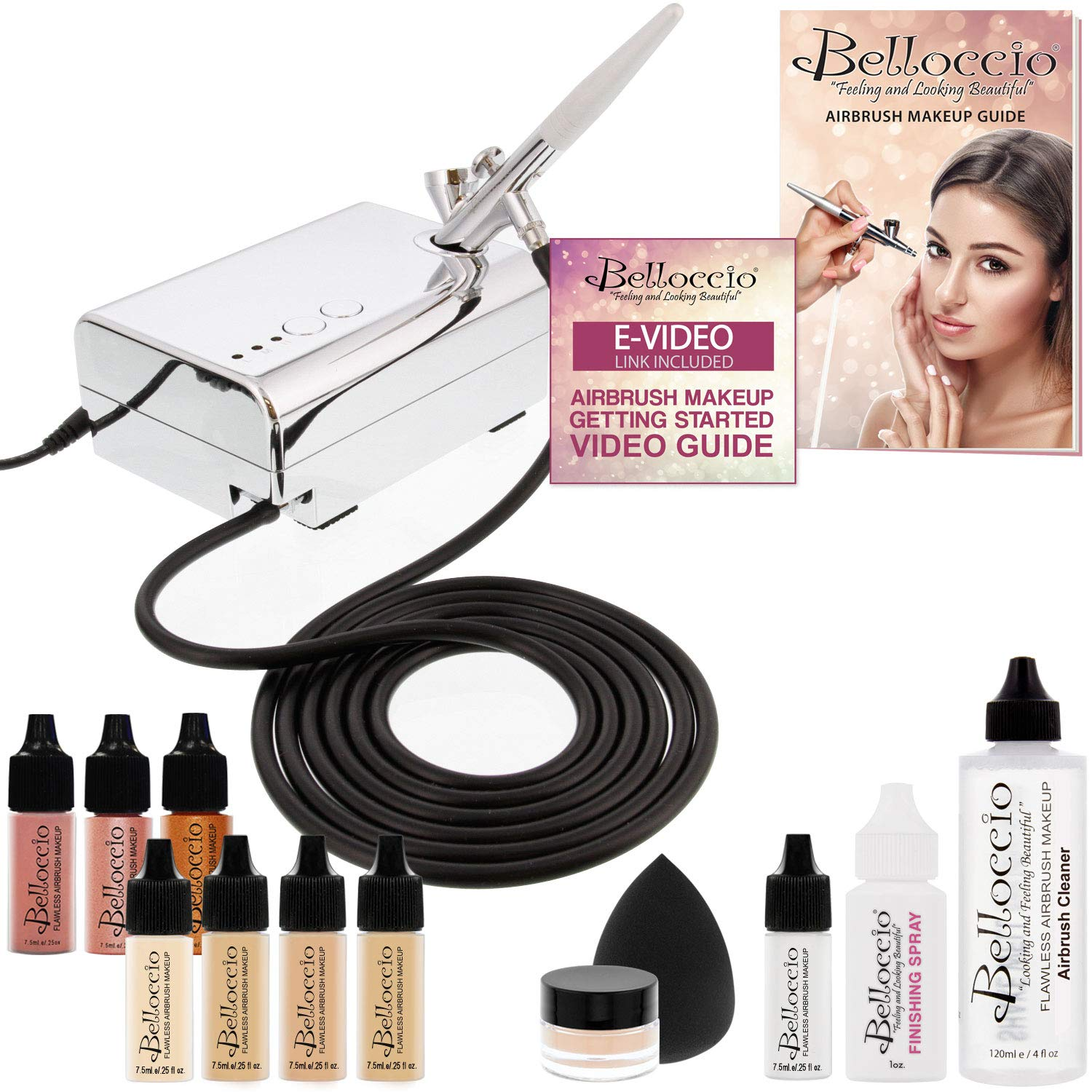 Belloccio Professional Beauty Airbrush Cosmetic Makeup System with 4 Fair Shades of Foundation in 1/4 Ounce Bottles - Kit Includes Blush, Bronzer and Highlighter and 3 Bonus Items and Video Link