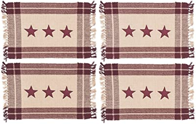 Burgundy Simply Stars Plaid Border 13 x 19 Woven Cotton and Tassel Placemats Set of 4