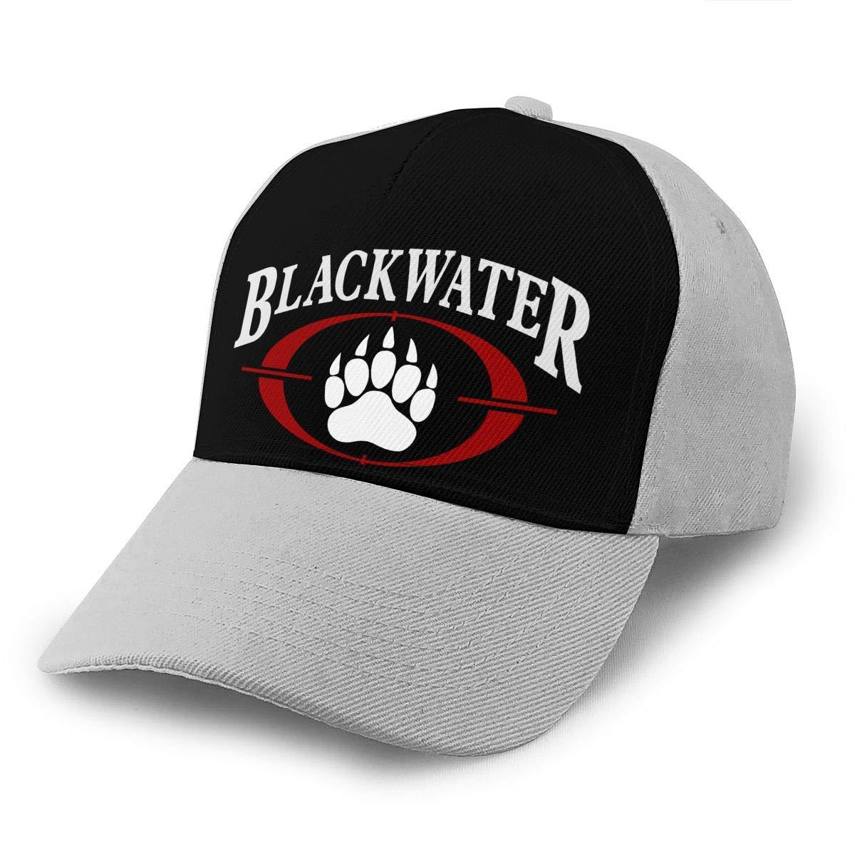 Adjustable Women Men Blackwater-Logo Print Baseball Cap Flat Brim Cap Hats Hip Hop Snapback Sun Hat Boys Girls Gray by Apolonia