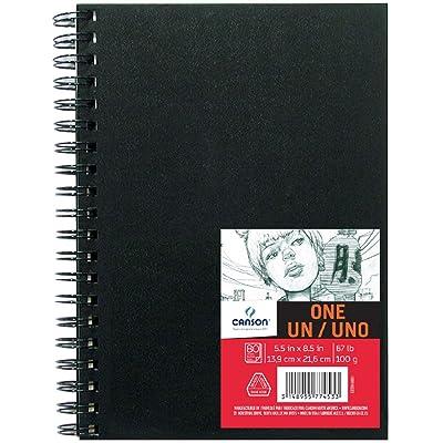 """Canson ArtBook ONE - Portafolio de dibujo de tapa dura con 98 hojas de papel para dibujar de 100 gsm, 0, 5.5""""X8.5"""", 1 unidad"""