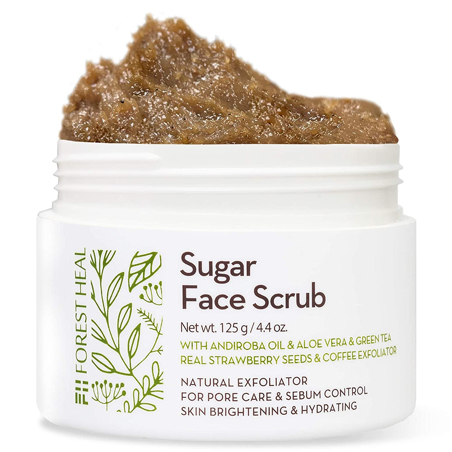 Face Sugar Scrub - Facial and Body Exfoliator for Cellulite - Skin Brightening & Hydrating - Pore Care, Acne, Sebum Control - Facial Scrub with Andiroba Oil - Forest Heal (100 ml / 3.38 fl.oz)