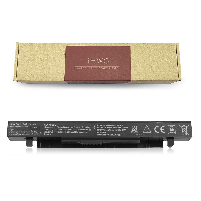 iHWG A41-X550A Batería para ASUS A41-X550 A41-X550A X450V A450 A450C A450CA A450CC P550 F550 F552 K450 k550 Serie, Compatible R510 X550 A550C X550A X550B X550D [14.4V / 2600mAh]: Amazon.es: Electrónica