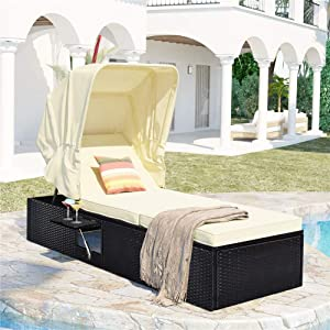 Wicker Single Chaise Lounge, Outdoor Patio Rattan Reclining Chair Furniture with Adjustable Backrest, Cushioned Sofa Sets with Retractable Canopy and Cup Table (Beige)