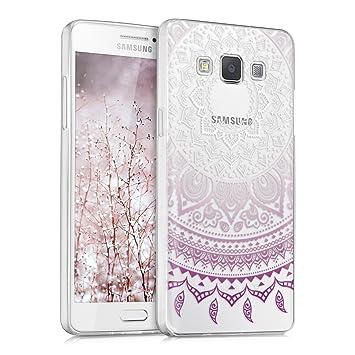 kwmobile Funda para Samsung Galaxy A5 (2015) - Carcasa de [TPU] para móvil y diseño de Sol hindú en [Violeta/Blanco/Transparente]