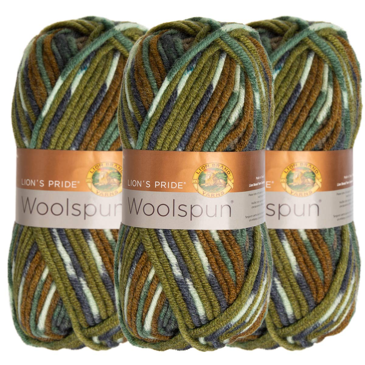Lion Brand (3 Pack) Woolspun Acrylic & Wool Soft Forest Print Brown Green Yarn for Knitting Crocheting Bulky #5