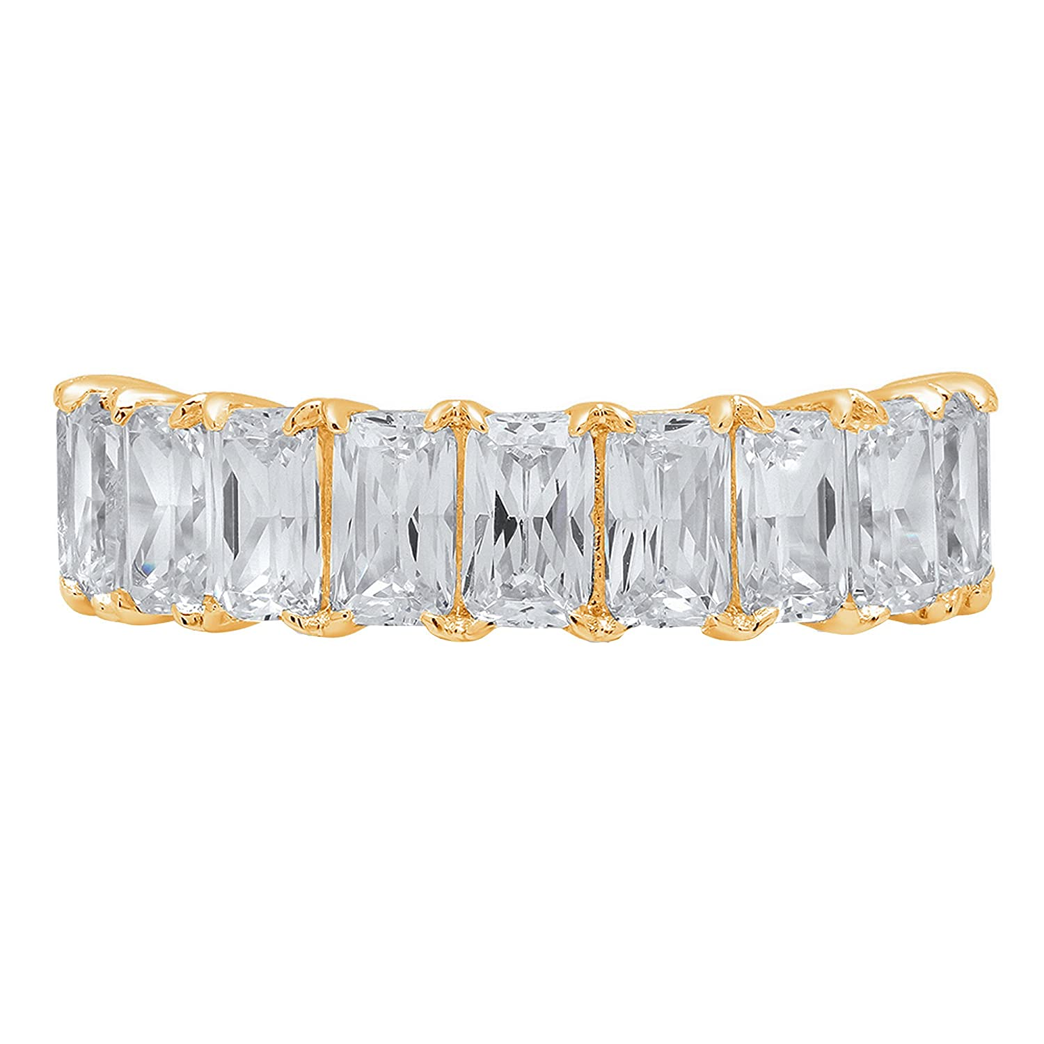 2.70ct Brilliant Emerald Cut Anniversary Promise Engagement Bridal Wedding Infinity Petite Eternity Stacking Band in 14K Solid Yellow Gold for Women