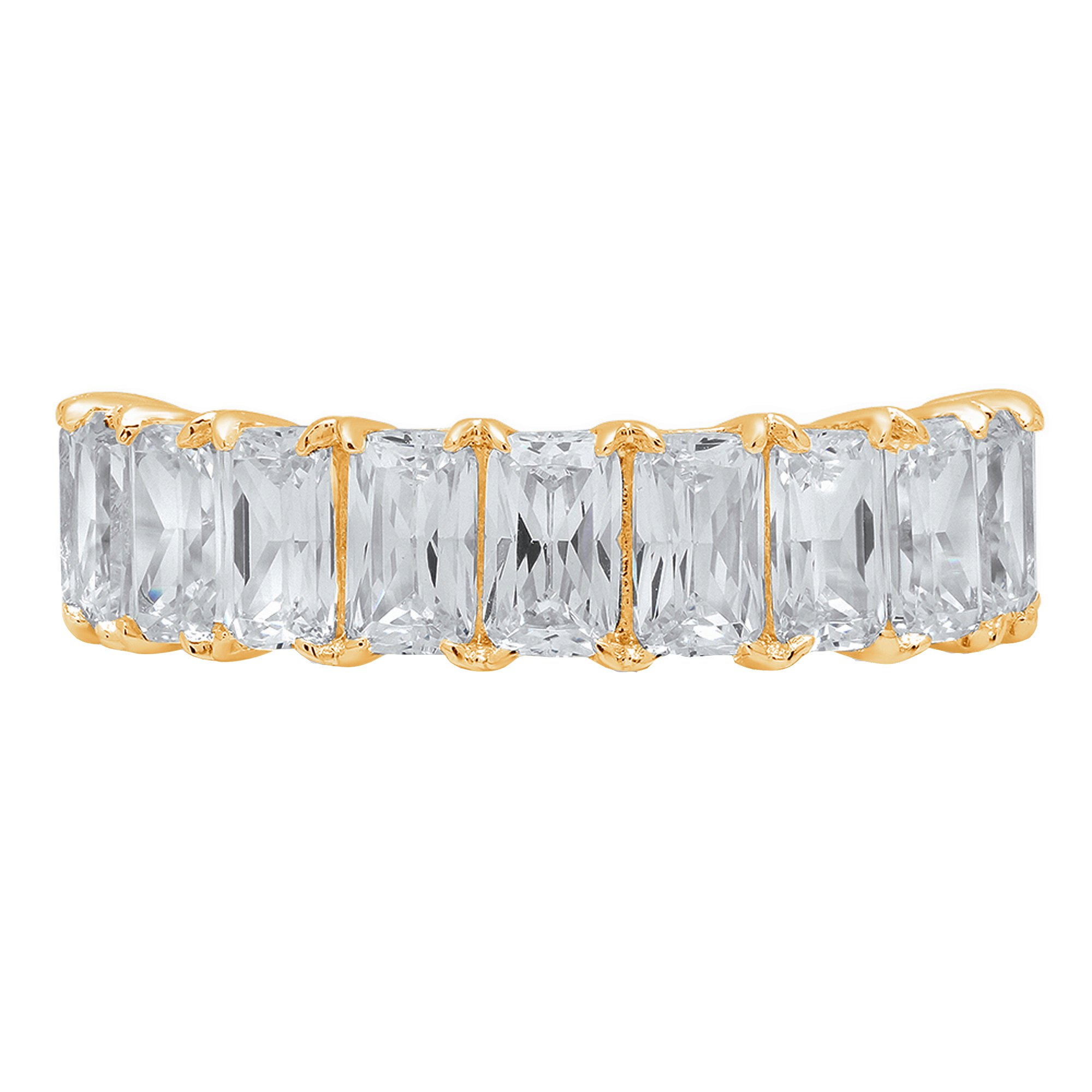 Brilliant Emerald Cut Anniversary Promise Engagement Bridal Wedding infinity Petite Eternity Stacking Band in 14K Solid Yellow Gold For Women 2.9ct, 9.5