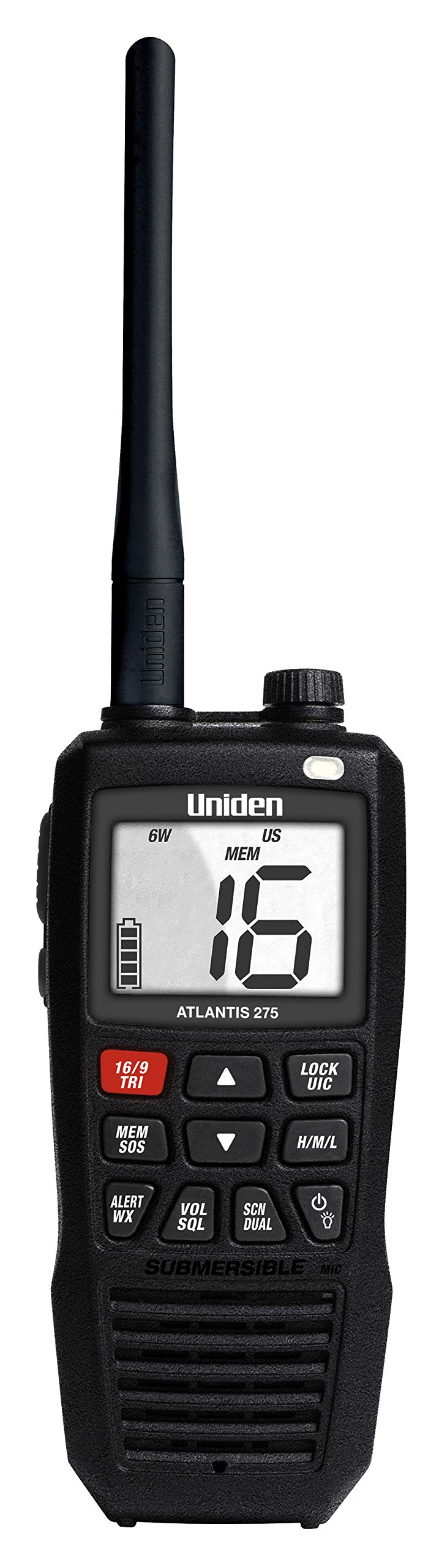 Uniden Atlantis 275 Handheld Two-Way VHF Marine Radio, Floating IPX8 Submersible Waterproof, Large Dual-Color Screen, 6-Watt, All USA/International/Canadian Marine Channels, NOAA Weather Alerts