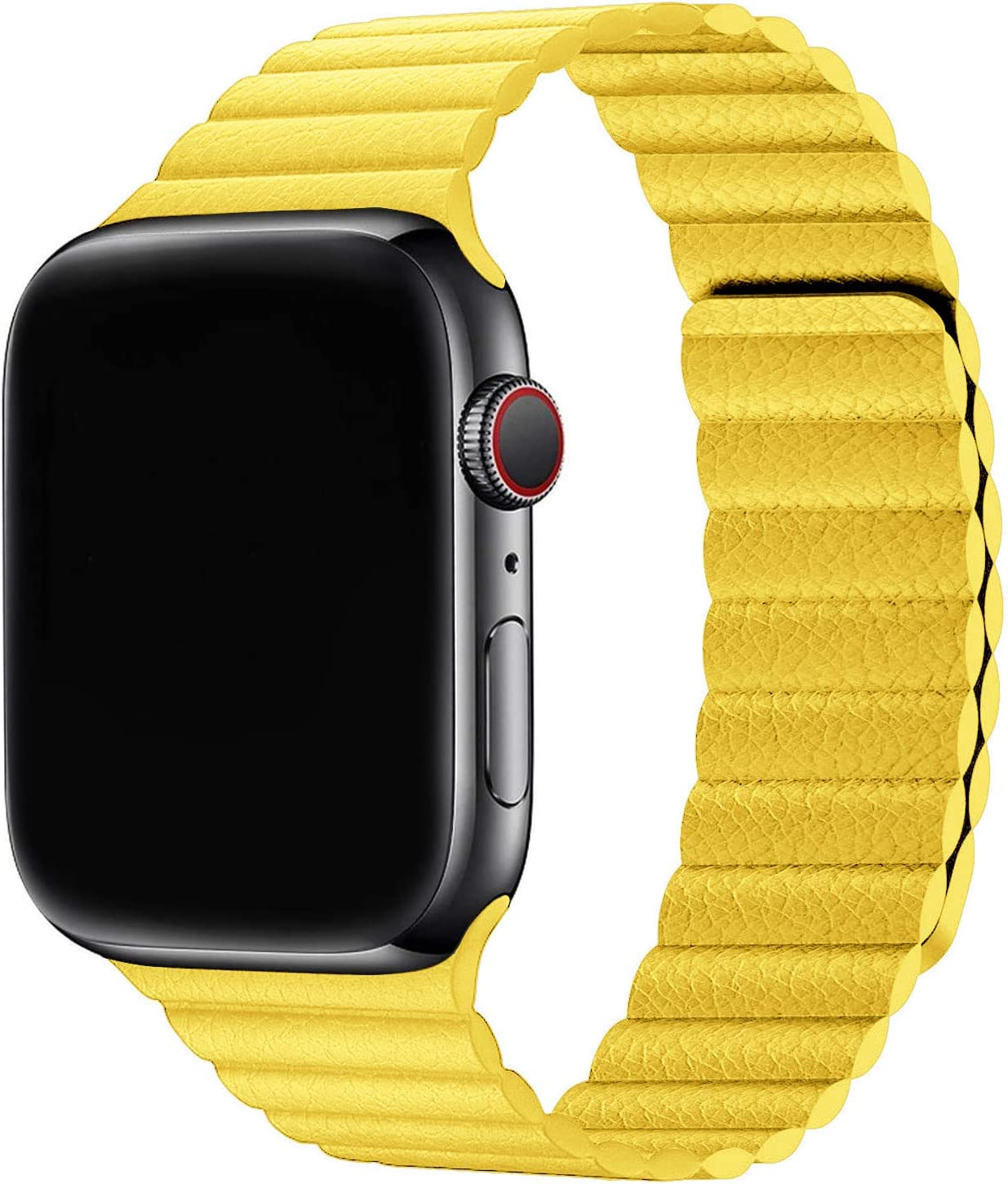 Firsteit Compatible with Apple Watch Leather Band 44mm 42mm 40mm 38mm Adjustable Loop Strap with Magnetic Closure for iWatch Series 6/5/4/3/2/1/SE (Yellow, 38mm/40mm)