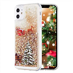 Christmas Case for iPhone 11, TIPFLY, Liquid Luxury Fashion Flowing Floating Shining Quicksand Soft Clear Bumper Shockproof Bling Sparkle Women Girl Case for iPhone 11 6.1 inches(Christmas Eve-Golden)