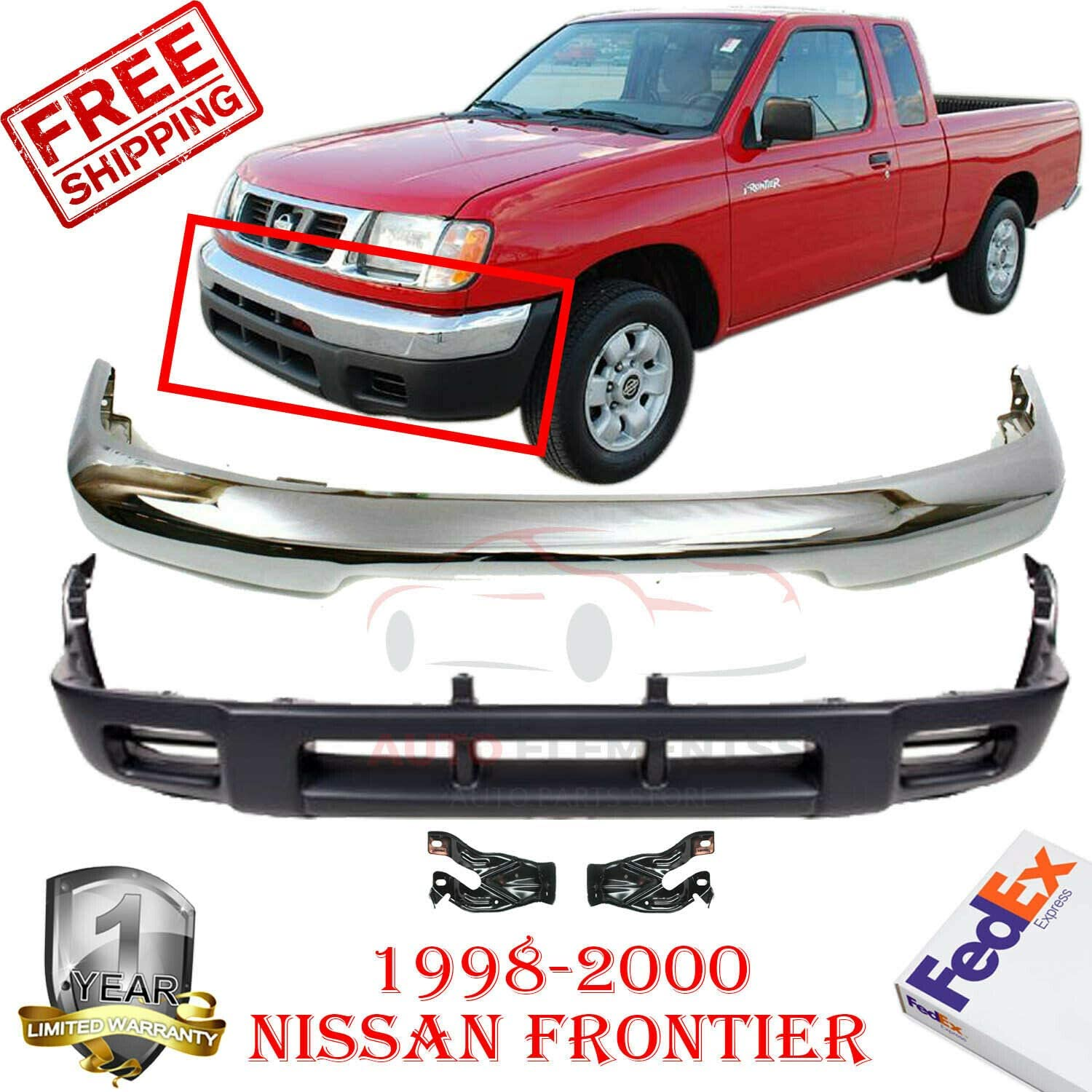 NEW Chrome Steel Front Bumper Face Bar for 1998-2000 Nissan Frontier Pickup