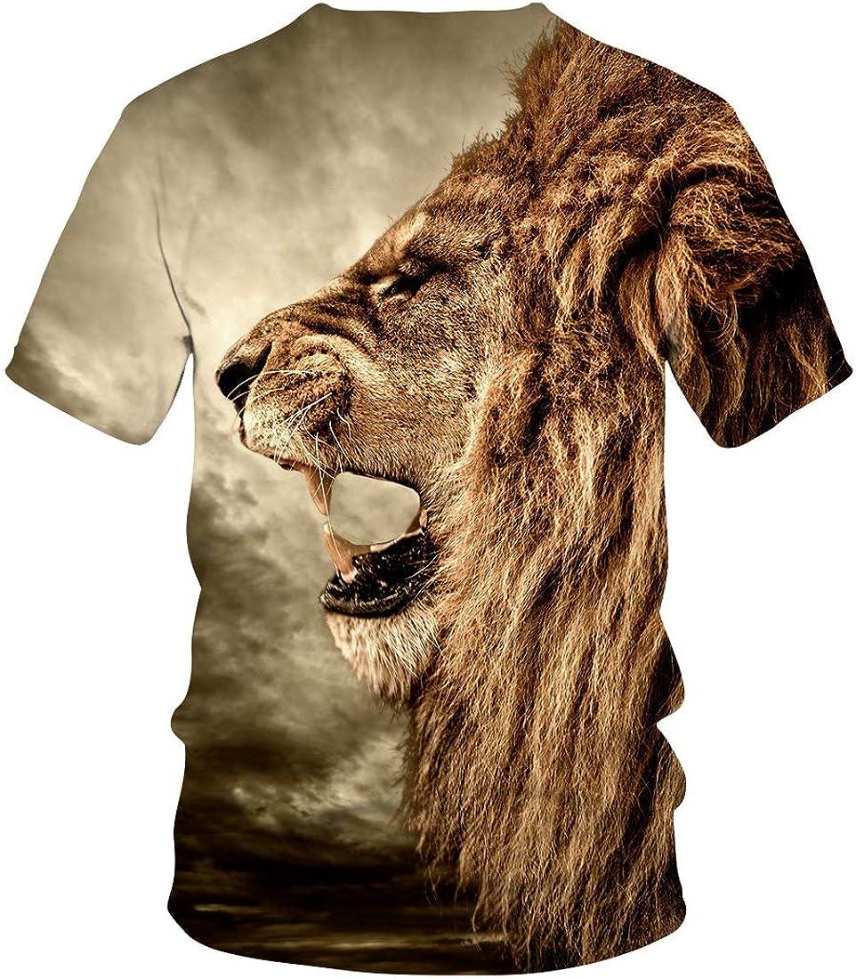 Camiseta 3D Summer Grassland Lion Print Hombres Street Top Casual De Manga Corta: Amazon.es: Ropa y accesorios