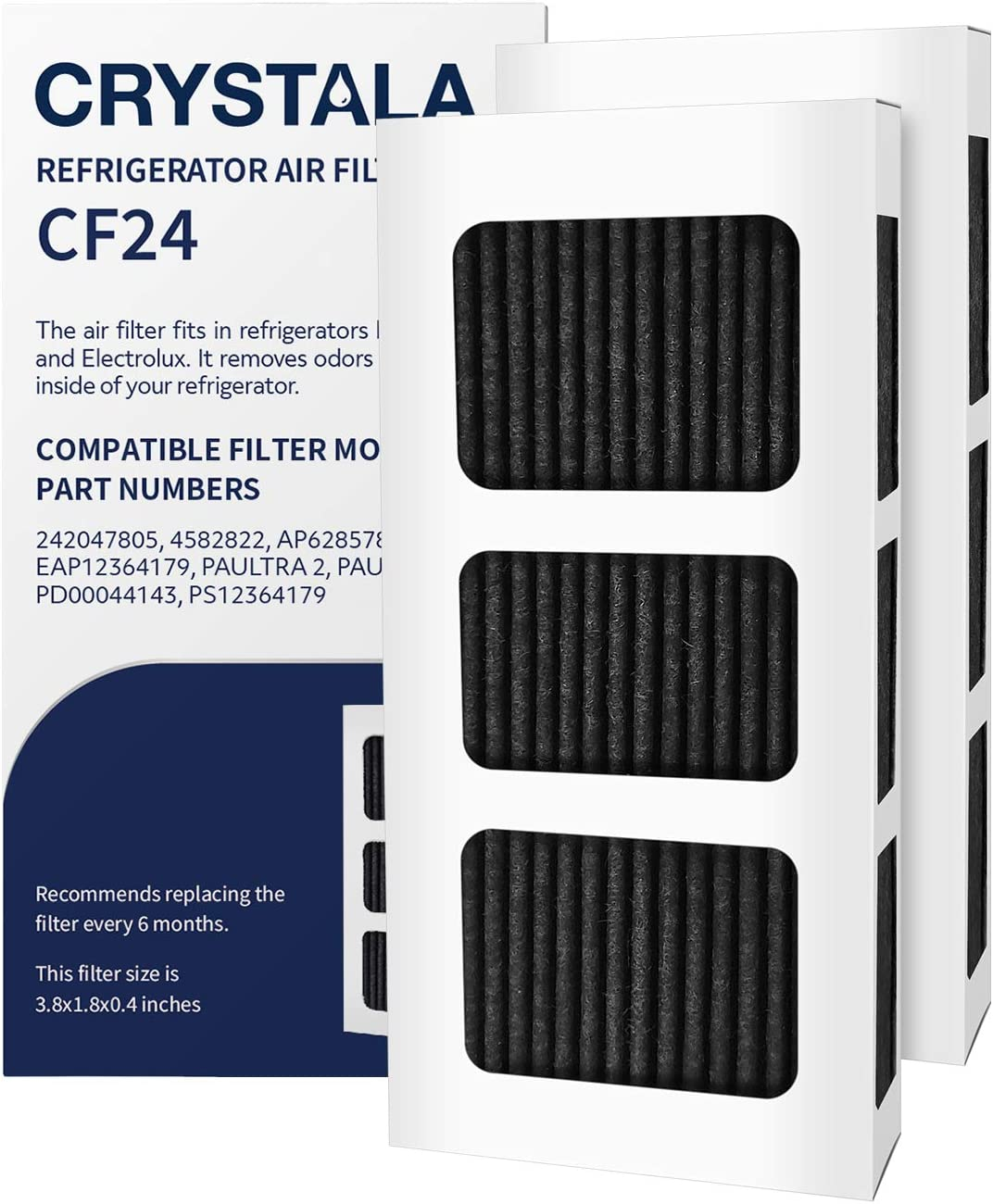 Crystala Filters PAULTRA2 Air Filter compatible with Frigidaire PureAir Ultra II Air Filter AP6285787, EAP12364179 Refrigerator Air Filters (2 Pack)