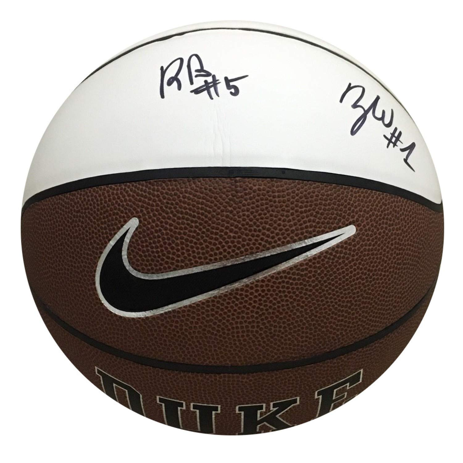 Zion Williamson RJ Barrett Dual Autographed Duke Blue Devils Signed Logo Basketball PSA DNA COA 2 Powers Collectibles