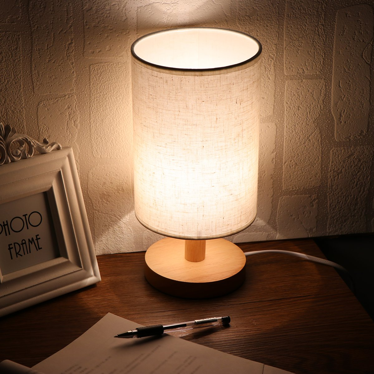 Clearance Bedside Table Lamp, Solid Wood Bedside Desk Nightstand Dimmable Light Lamp with E27 RGBW LED Bulb and Remote, 12 Colors, Timing/Flash or Smooth Mode for Bedroom, Living Room, Kids Room