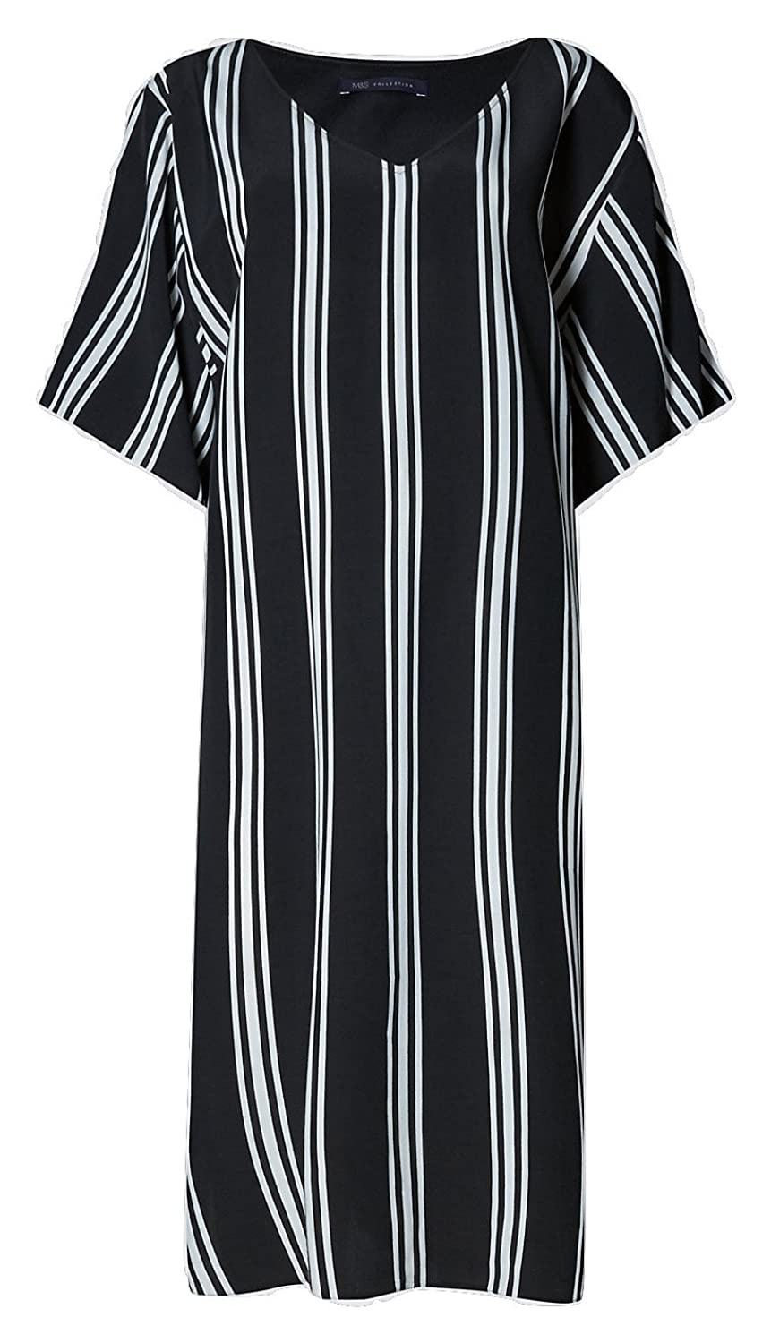 Famous Highstreet Store Plus Size Black & Cream Striped Tunic Dress V Neckline