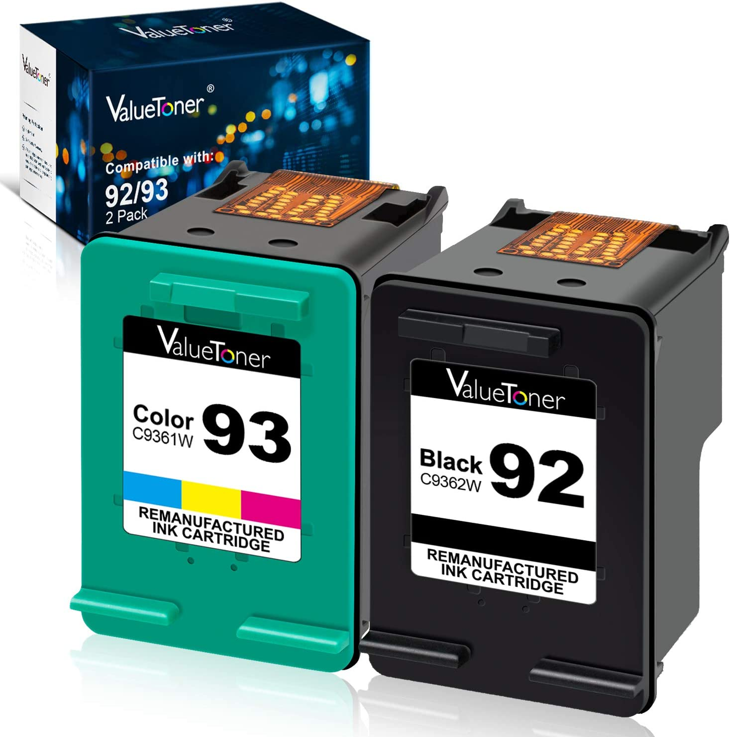 Valuetoner Remanufactured Ink Cartridges Replacement for HP 92 & 93 C9513FN C9362WN C9361WN for Photosmart 7850 C3150 C3180, Deskjet 5440 5420, PSC 1510 2525 Printer (1 Black, 1 Tri-Color, 2 Pack)