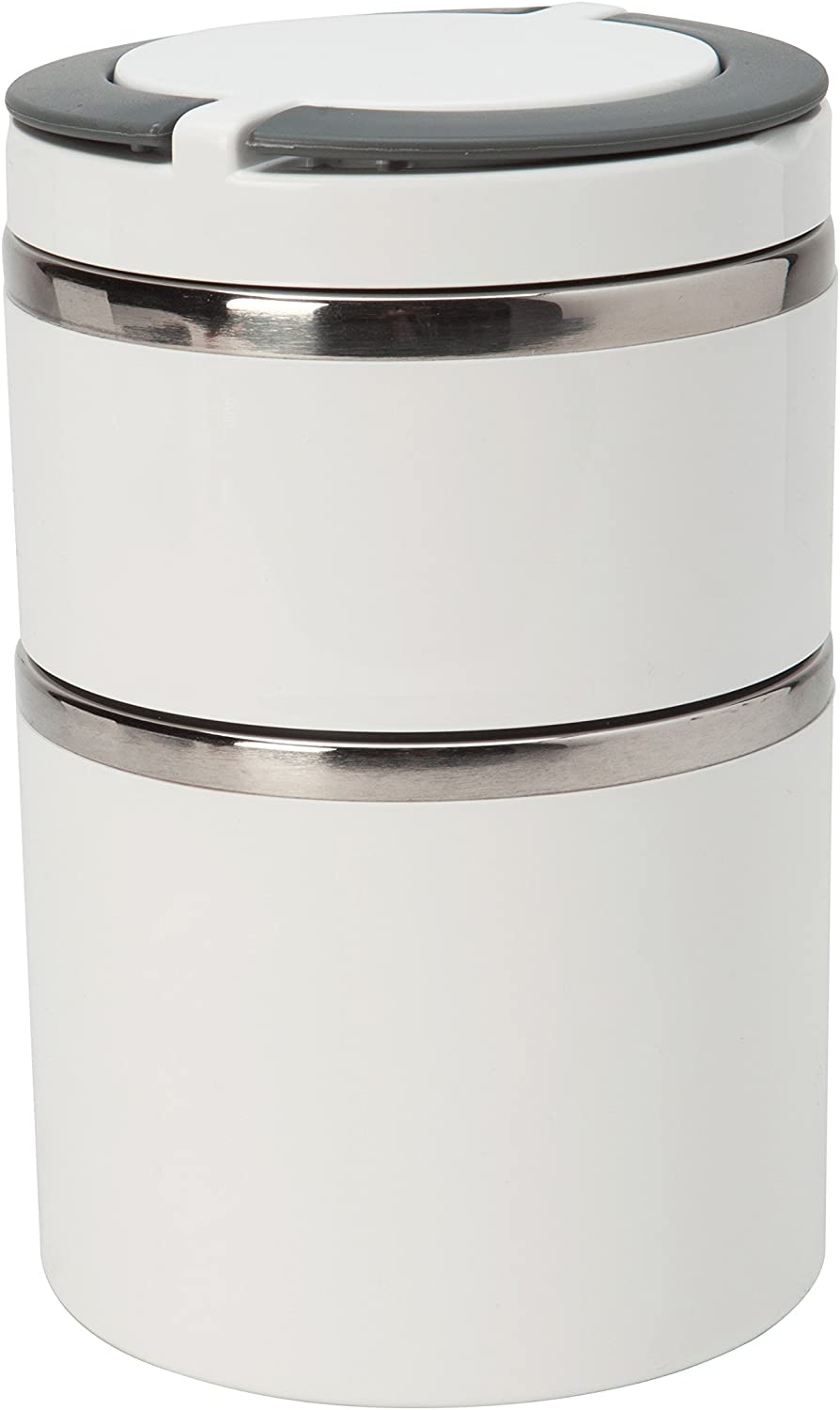 Kitchen Details 2 Tier Round Stainless Steel White Twist Open Insulated Lunch Box Container Thermos, Good for Soup and Hot Food