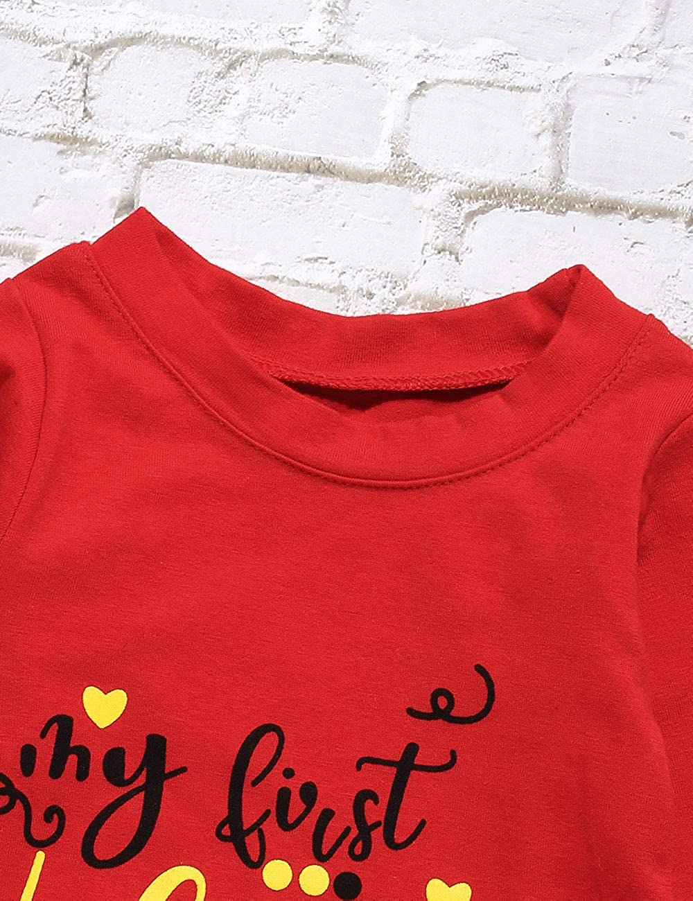 Oklady My First Valentines Day Newborn Baby Girls Boys Romper Bodysuit Long Sleeve Jumpsuit Creepers Outfits