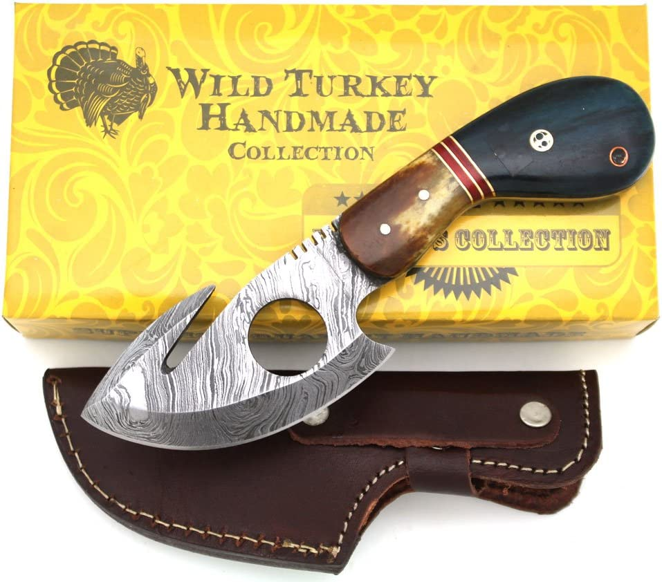 Wild Turkey Handmade Damascus Steel Color Bone Handle Fixed Blade Full Tang Skinner Knife w Leather Sheath Hunting Camping Fishing Outdoor