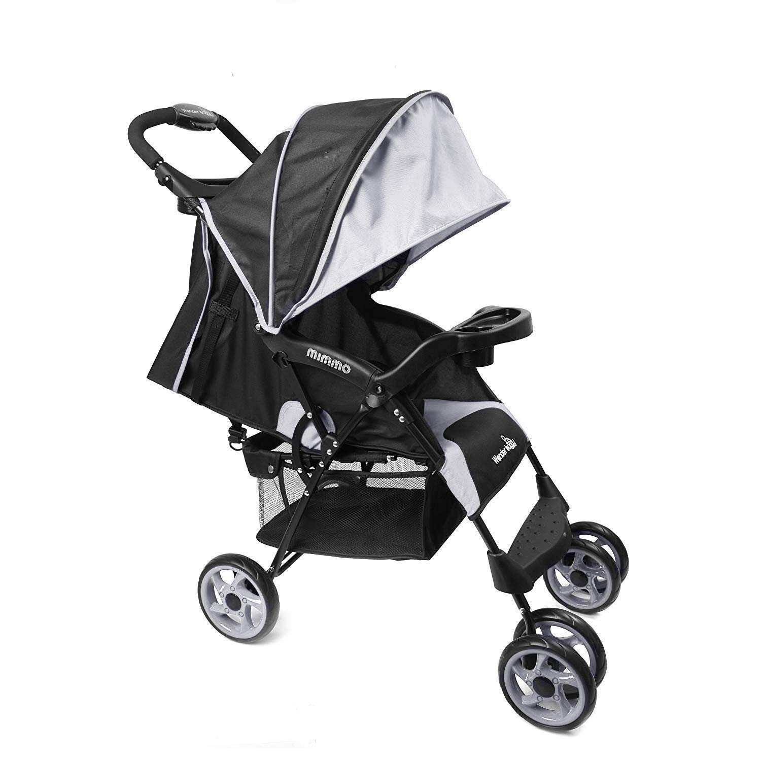 Wonder buggy Lightweight Baby Stroller, Foldable Infant Pushchair with 5-Point Safety Harness, Multi-Position Reclining Seat, Parent and Child Tray, Large Storage Basket, Suspension Wheels, Black