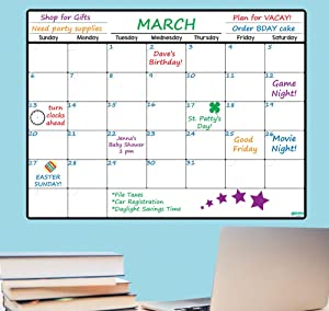 Everase Re-Stic Dry Erase Self-Adhesive Peel & Stick Monthly Planner & Calendar (12 x 16 in.) Free Marker & Cloth | Organizer, Walls, Doors, Refrigerators | Premium Quality Removable Decal