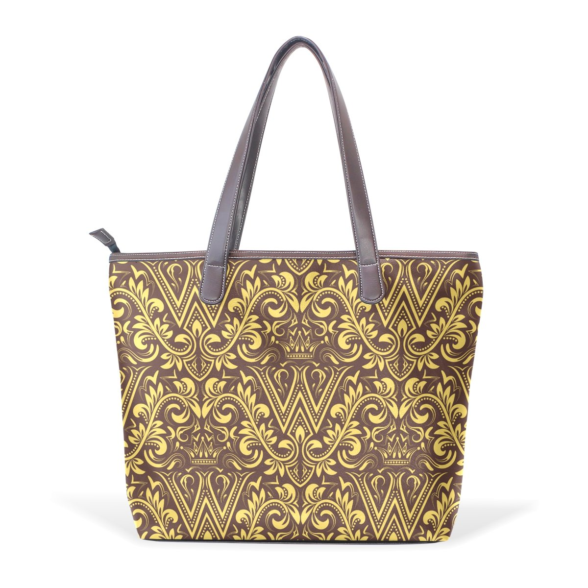 Baroque Flower Pattern Alphabet Letter W Womens Fashion Large Tote Ladies Handbag Shoulder Bag