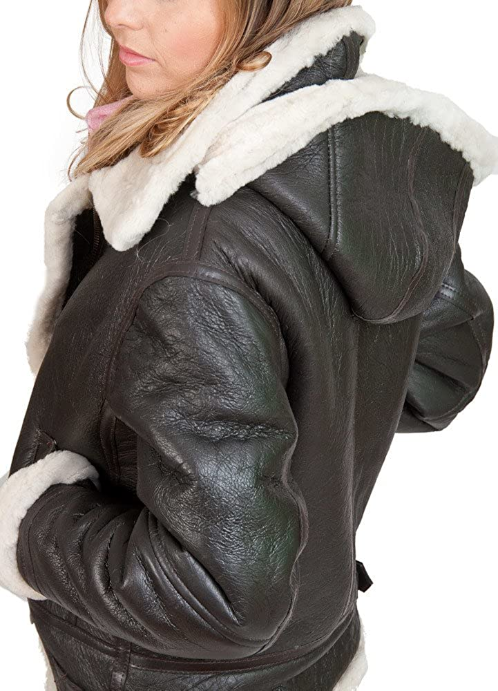 Infinity Womens Brown Hooded Sheepskin Flying Leather Jacket with Cream Fur