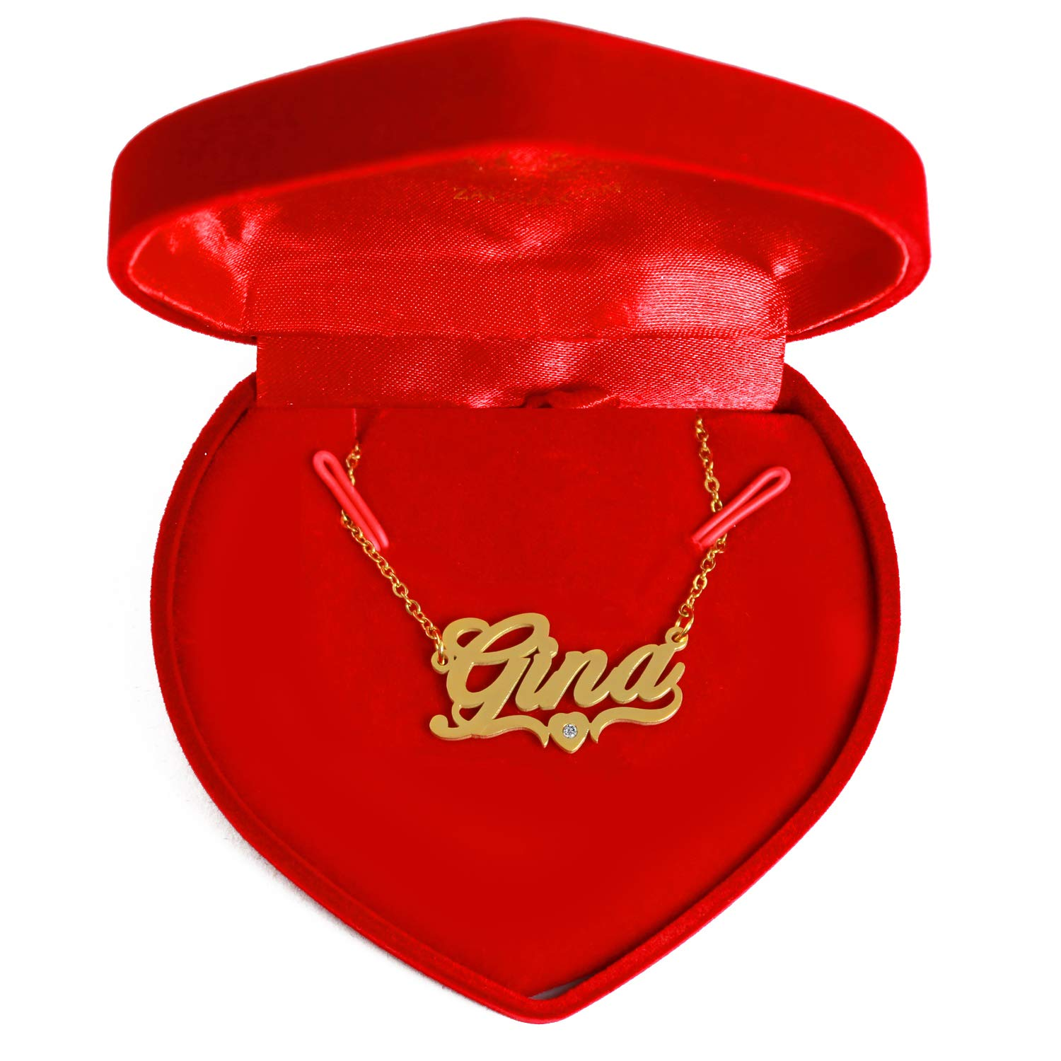 18ct Gold Plated Personalized Custom Name Necklace Kigu GINA Heart Shaped