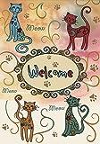 """Toland Home Garden 112622 Meow Welcome 12.5 X 18"""" Decorative USA-Produced Garden Flag"""