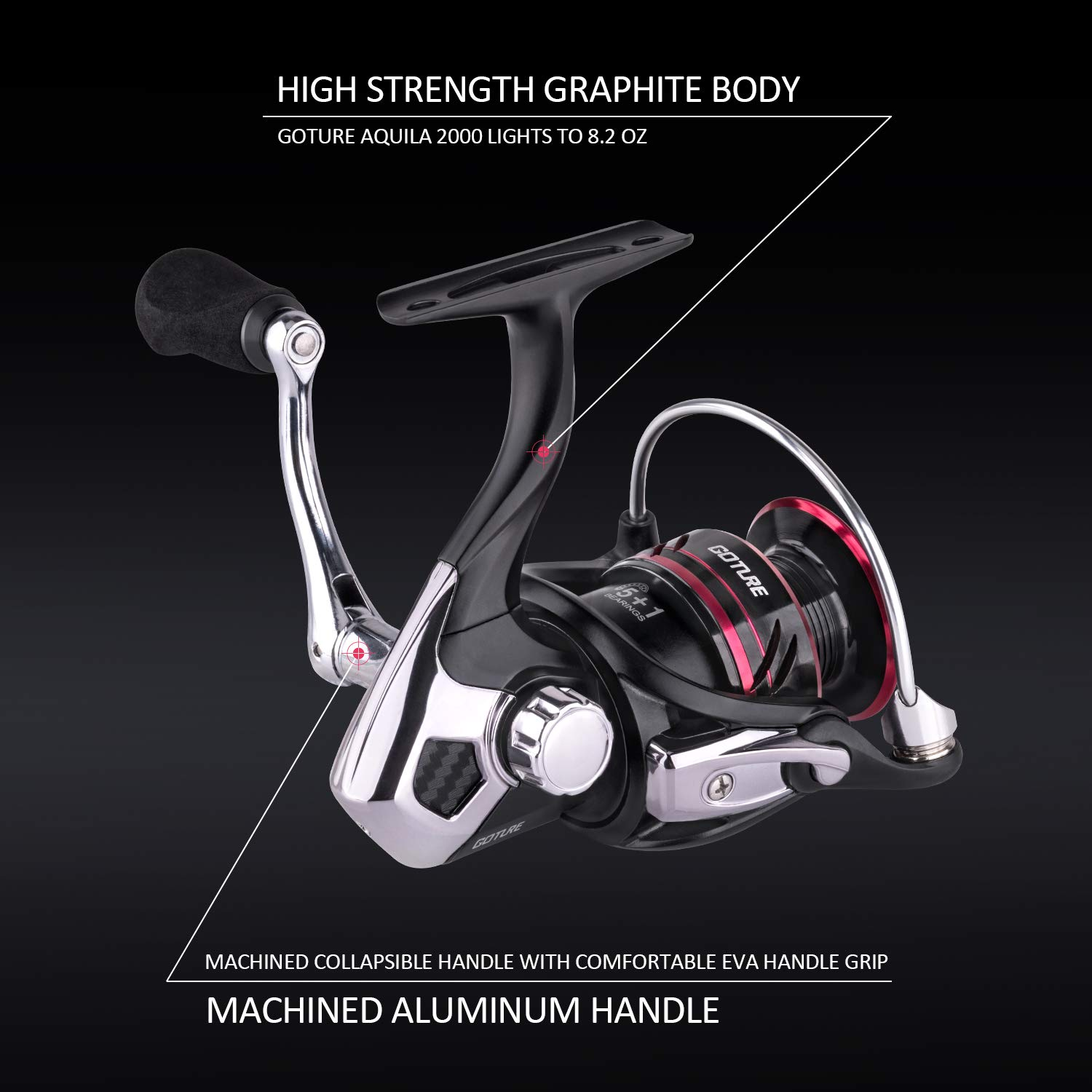 Goture Saltwater & Freshwater Fishing Reel - Aquila Aluminum Offshore Surf Spinning Ice Fishing Reel - Max Drag Up to 11 Lb (500 Series)