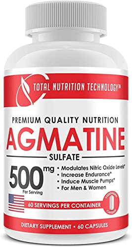 Agmatine – 60 Vegetarian Capsules – 500mg per Serving – Endurance – Muscle Pumps -Pre Workout – by Total Nutrition Technology