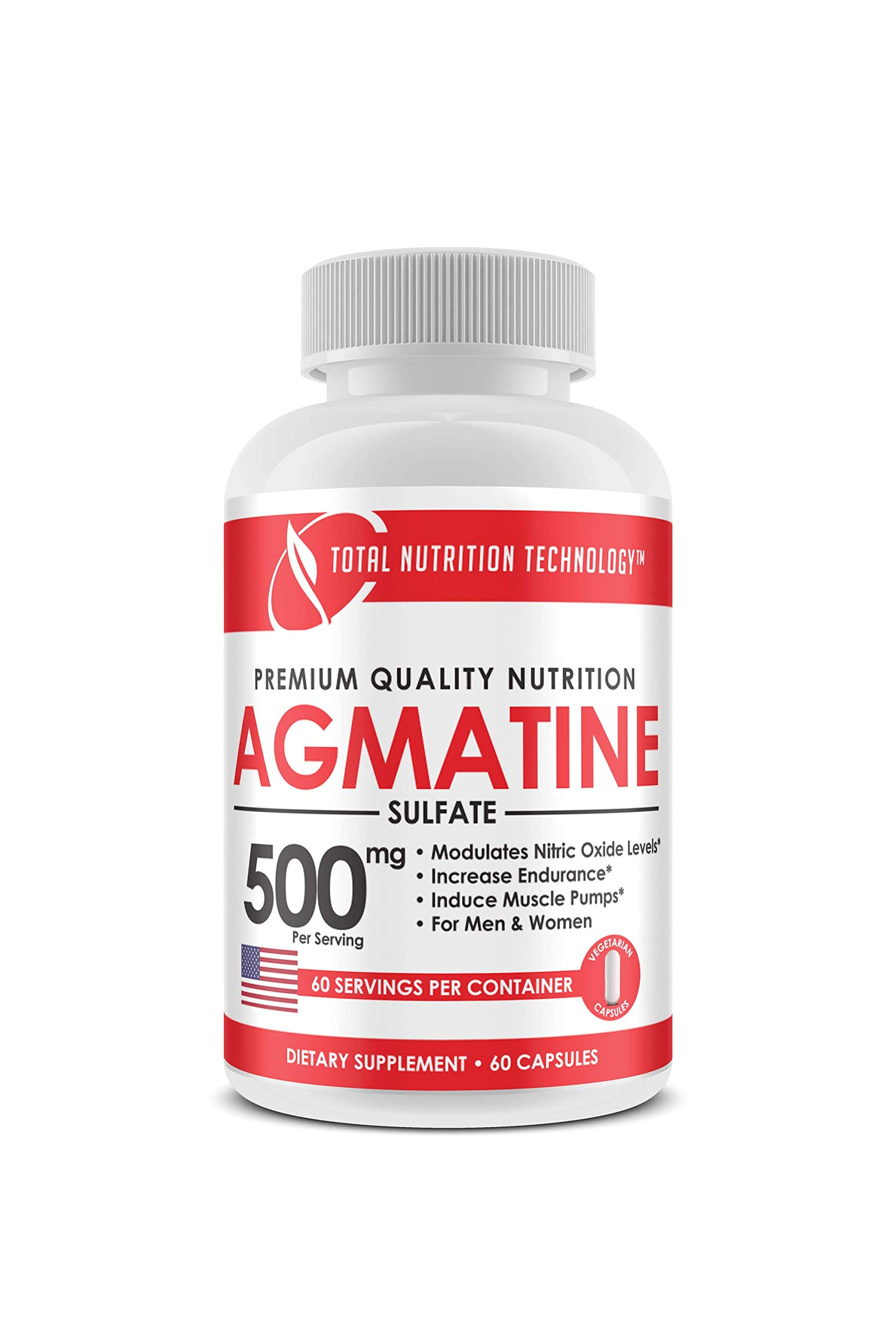 Agmatine - 60 Vegetarian Capsules - 500mg per Serving - Endurance - Muscle Pumps -Pre Workout - by Total Nutrition Technology by Total Nutrition Technology
