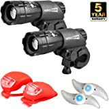 HeroBeam® Double Bike Lights Set - The Ultimate Lighting and Safety Pack of Super Bright Front Bicycle Lights, Tail Lights and Wheel Lights - 5 Year Warranty