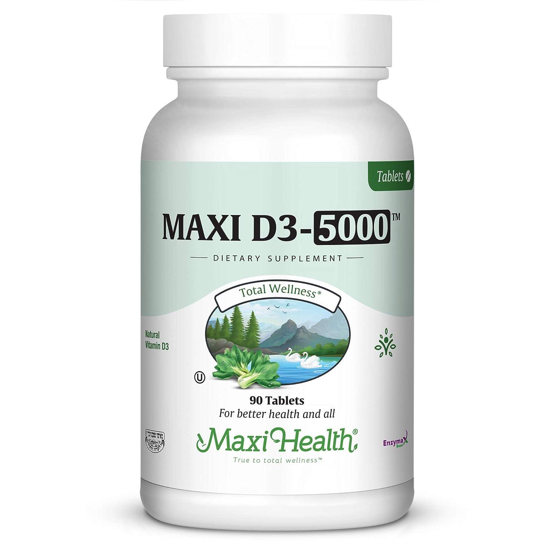 "Maxi Health Natural Vitamin D3 -""5000 IU"" - Nutrition Supplement - 90 Tablets - Kosher"