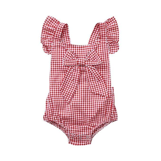 5ad9c6271 Ropa Bebe Niña Verano Fossen Recién Nacido Bebé Mono de Cuadros con  Horquilla