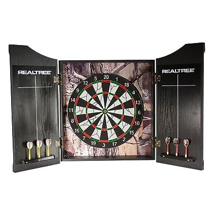 RealTree Heavy Duty Wood Finish Dartboard Cabinet And Darts Set With  Chalkboard Score Card, Camo