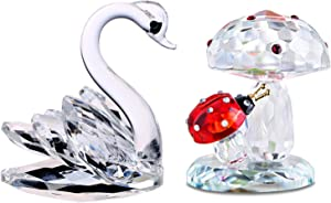 H&D HYALINE & DORA Suncatcher Crystal Swan with Ladybug on Mushroom Figurine Statues Christmas Decor Paperweights,Gift Boxed