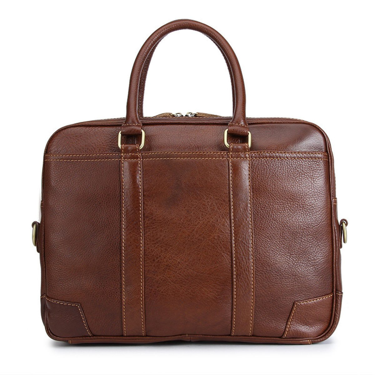 Porte-documents En Cuir Véritable Pour Hommes Sac à Bandoulière Sac Pour Ordinateur Portable 14 Pouces Sac à Main Carré (marron) DarkBrown-OneSize XMOE
