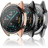 Hianjoo 3 Piezas Funda Compatible con Huawei Watch GT 2 46mm, Suave Cubierta TPU Silicona Goma con Completo Protector Pantall