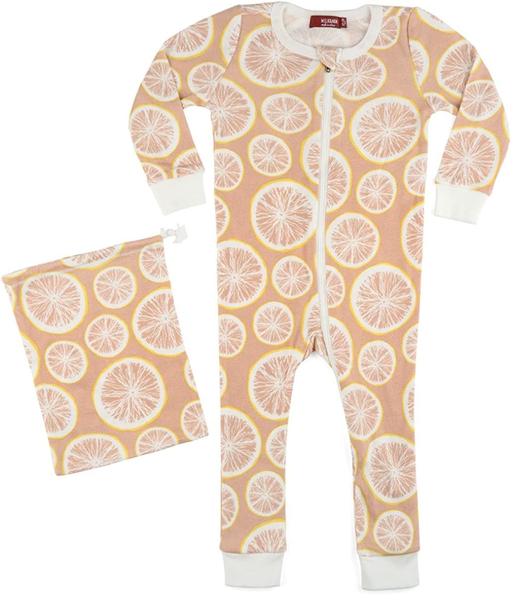 Milkbarn Organic Cotton Zipper Pajama Lemon