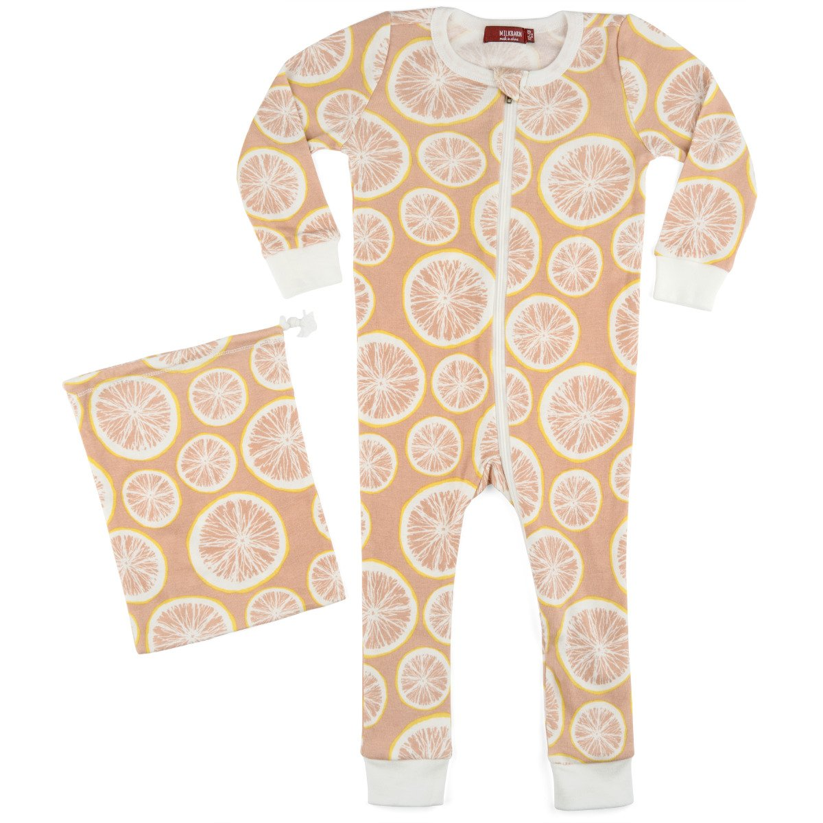 MilkBarn Organic Cotton Zipper Pajama Grapefruit 38088