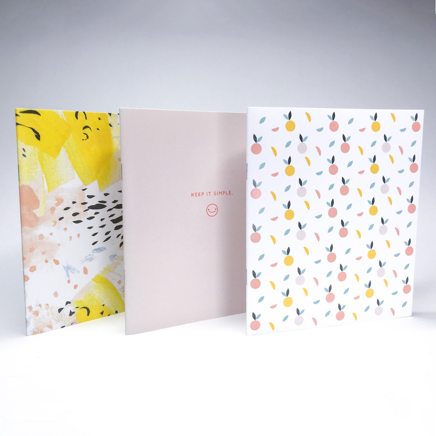 Writer's Pack, Set of 3 notebooks, blank inside, Peaches, Cute, Colourful and Pack of 10 Gold Foil Pencils, Fully Designed and Printed in Canada Writer's Pack