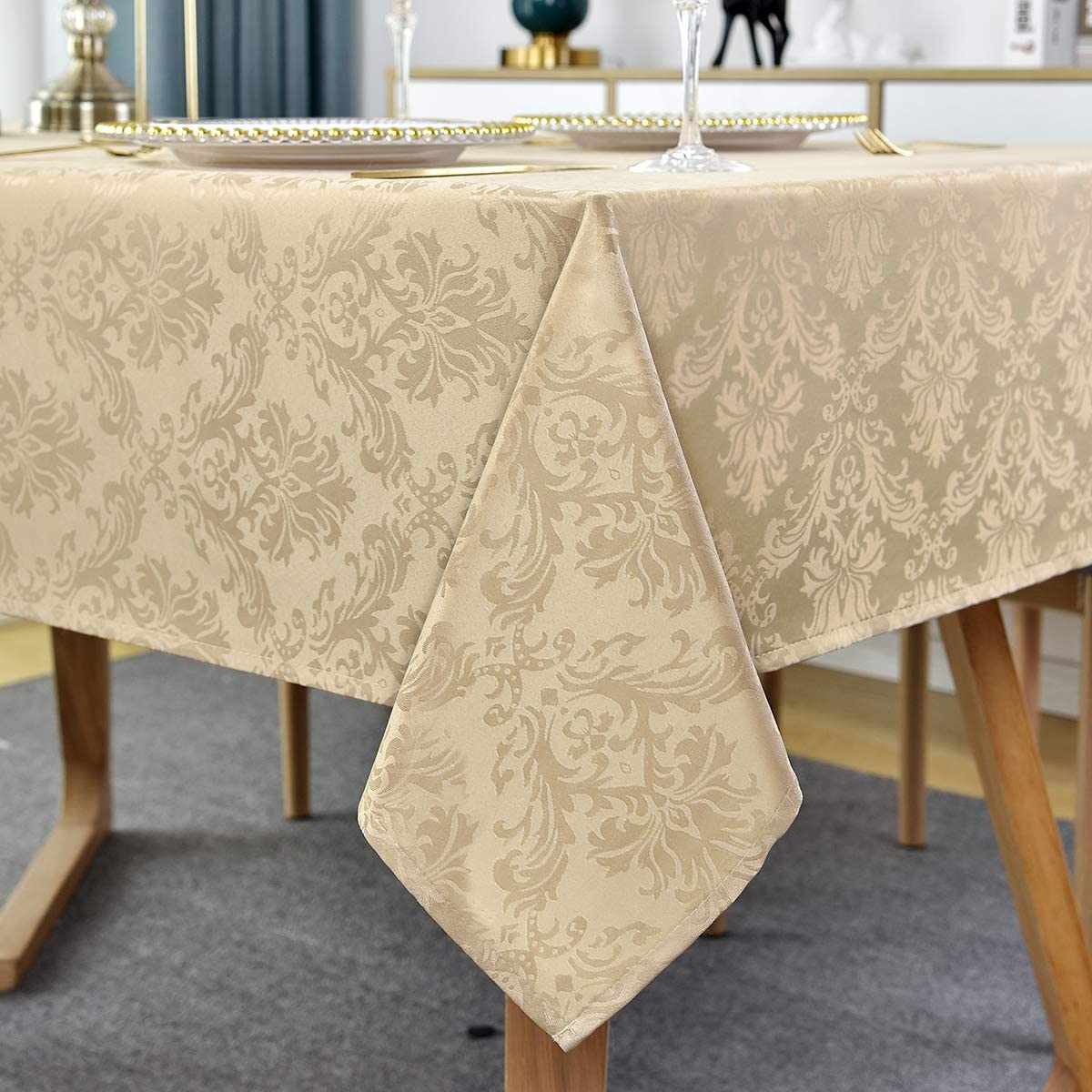 SASTYBALE Rectangle Tablecloth - 60 x 84 Inch Flax Damask Table Cloth Jacquard Design Spill Proof Wrinkle Resistant Waterproof Soft Polyester Oblong Table Cover for Kitchen Parties Tabletop