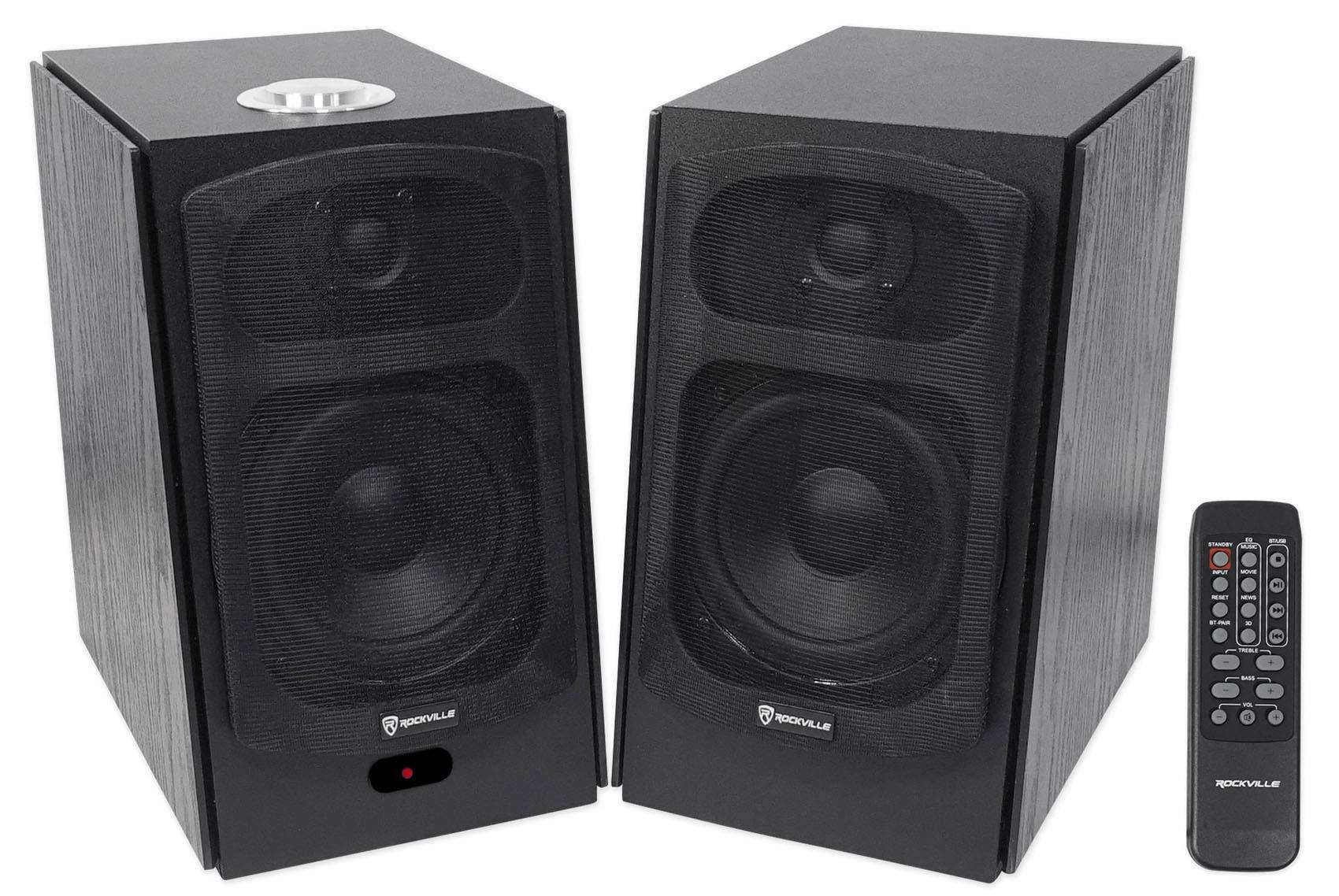(2) Rockville HD5B 5'' 150w RMS Powered Bluetooth Bookshelf Home Theater Speakers