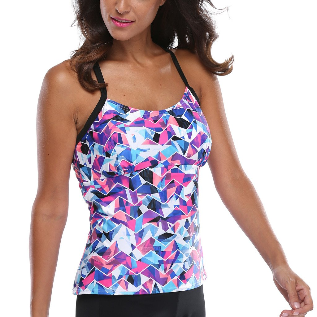 b650512d81 Womens Tankini top Swimsuits Padded Swimwear Tank top Floral Bathing Suit  at Amazon Women's Clothing store:
