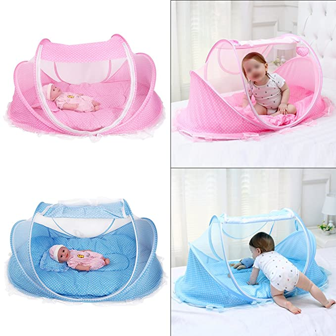 Foldable Baby Mosquito Net Travel Bed Pink Portable Foldable Mosquito Net Anti-Bug Crib Cradle Tent with Mattress Pillow for Baby Infant
